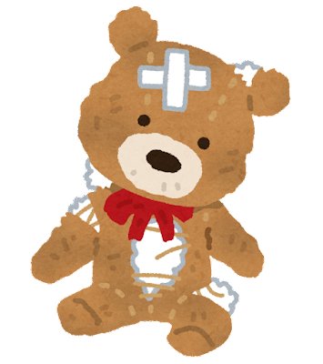 ボロボロのクマのぬいぐるみのイラスト