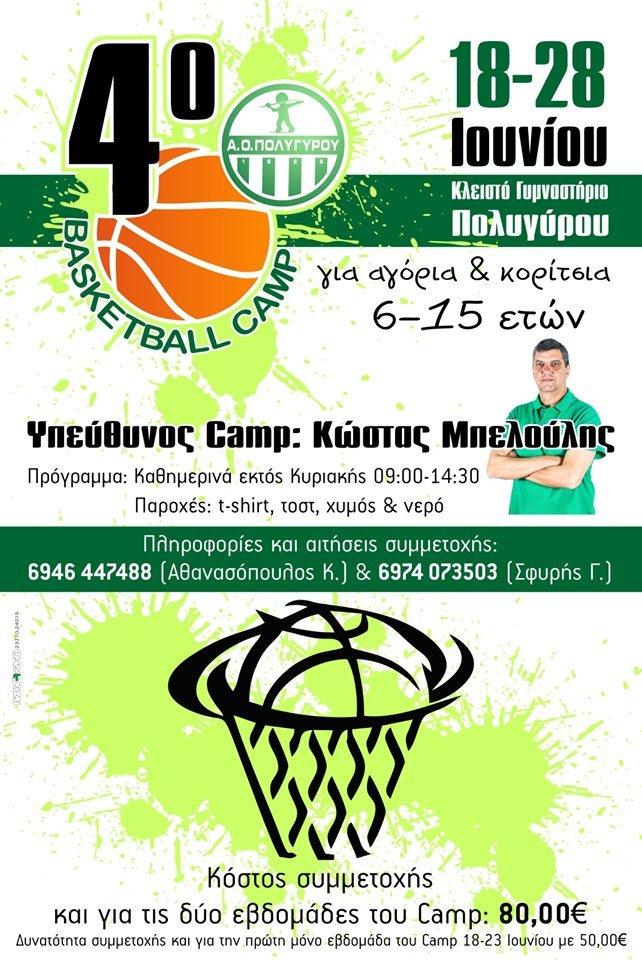 4ο Basketball Camp AOΠ κλειστό γυμναστήριο Πολυγύρου