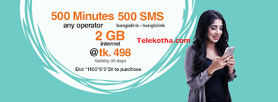 500 minutes (any operator), 2 GB and 500 SMS (banglalink-banglalink) for just Tk. 498. Dial *1100*5*5*2#