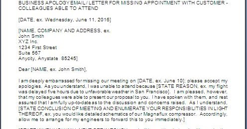 Apology Letter For Missing A Meeting Or An Appointment