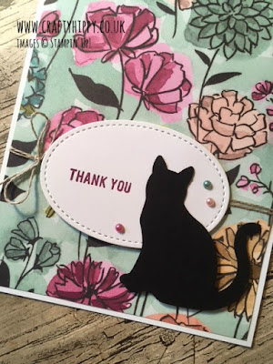 This image shows a close up of a handmade card made using the Cat Punch and the Share What You Love Specialty DSP by Stampin' Up!