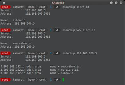 Setelah itu cek domain dan ip server dengan nslookup