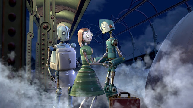 Render en 3D de la película Robots de los personajes Rodney, Cappy y el padre de Rodney el robot friegaplatos