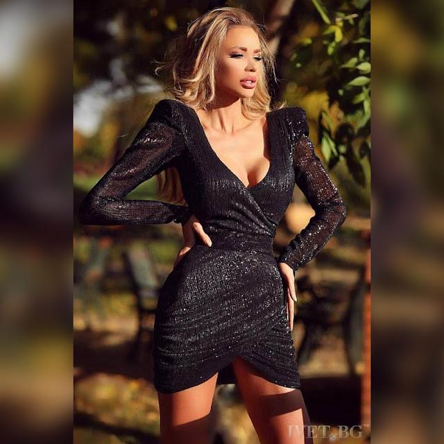 Μακρυμάνικο εντυπωσιακό μαύρο κοντό  φόρεμα LEONIDA