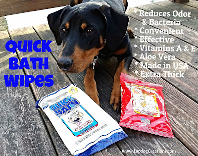 Quick Bath Wipes Help Keep Penny Clean & Fresh Smelling! Great for in between real baths, and a must for active puppies! #QuickBathWipes #LapdogCreations
