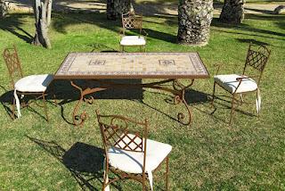Conjunto Mesa Forja y 4 sillas y 2 Sillones