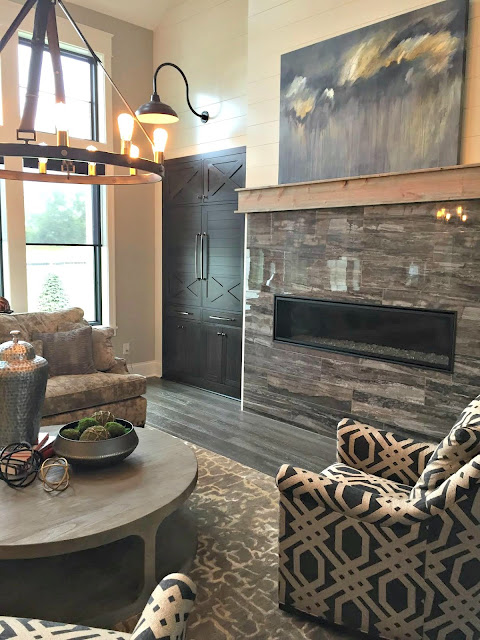skinny fireplace with tile