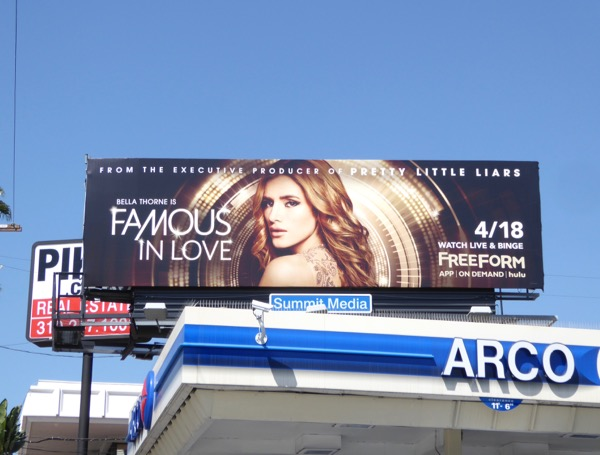 Famous in Love series launch billboard