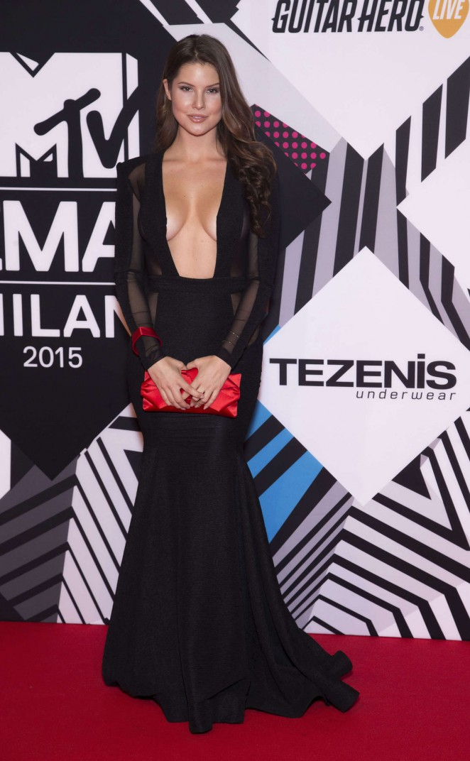 Amanda Cerny bares curves in sheer dress at the MTV EMAs 2015