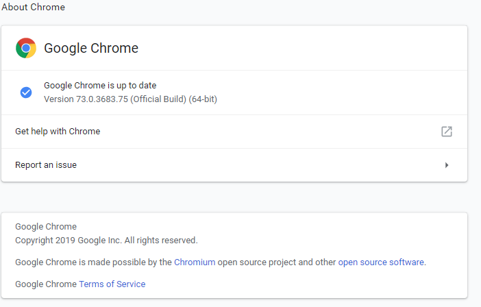 Google Chrome 73.0.3683.75