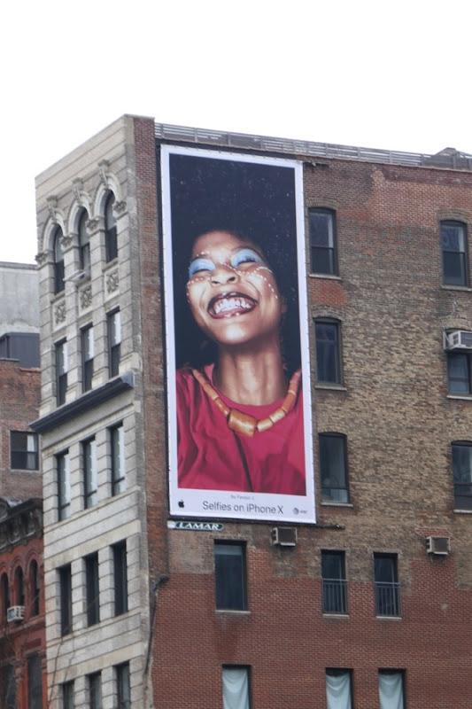 Selfies on iPhone X billboard NYC