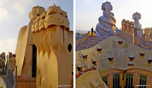Terraço de La Pedrera, obra de Gaudí em Barcelona
