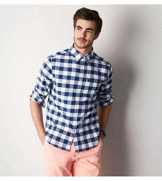 Look Masculino Xadrez com roupas para homens magros e baixos