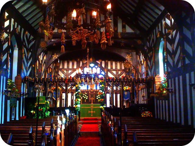 Siddington church decorated with corn dollies