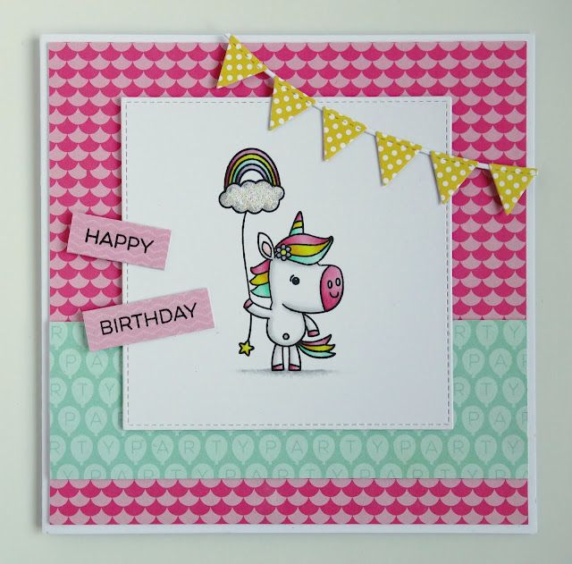 Handmade birthday card featuring unicorn with rainbow balloon (using Unicorns rock stamps from Your Next Stamp)