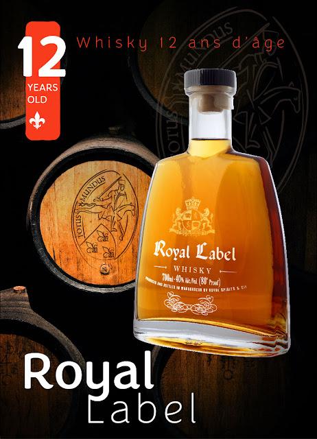 création de visuel pour décoration de stand Whisky 12 d'âge Royal Label