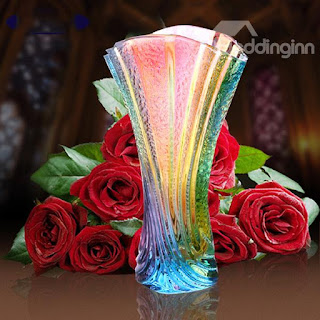 Rainbow Glass Flower Vase