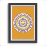 A modern scallop edge mandala design in dark yellow, purple and green.