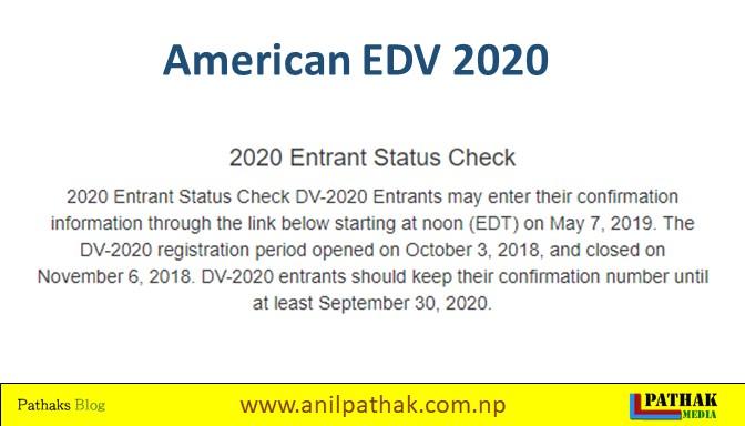 America EDV 2020 result online