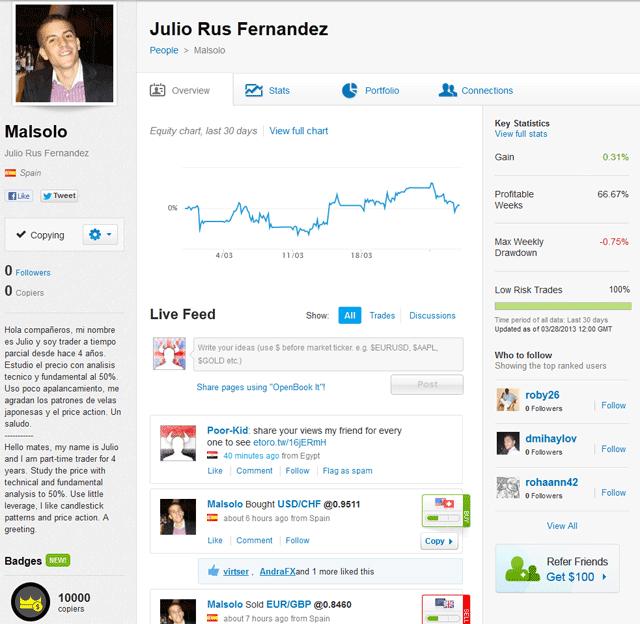 pantalla de perfil de traders en eToro