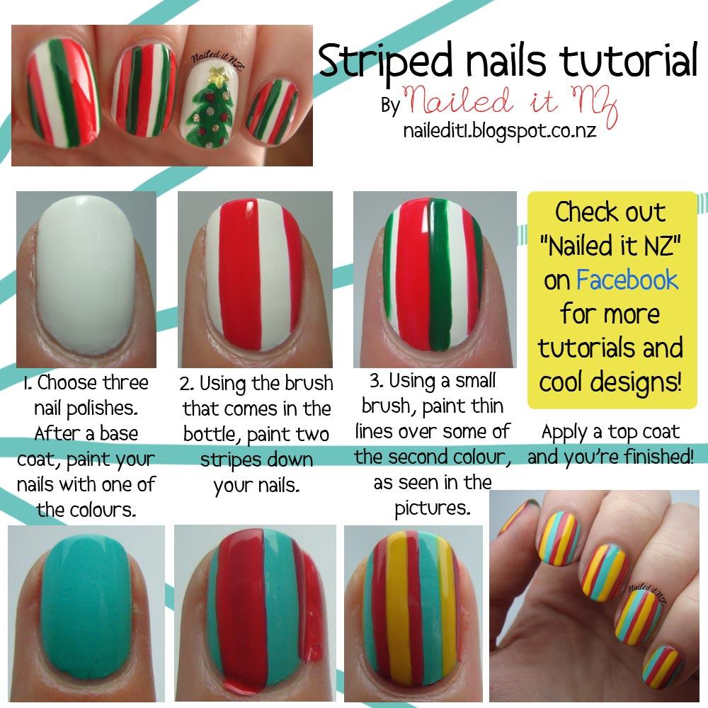 Nail Art For Short Nails 5 Striped Nails