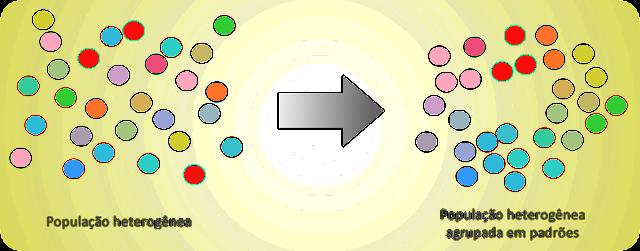 População heterogênea agrupada em padrões, tipologia