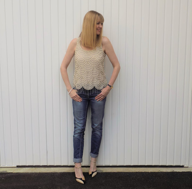 Beaded Gatsby style top and boyfriend jeans