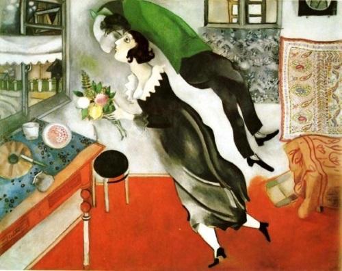 O Aniversário, pintura de Marc Chagall. #PraCegoVer