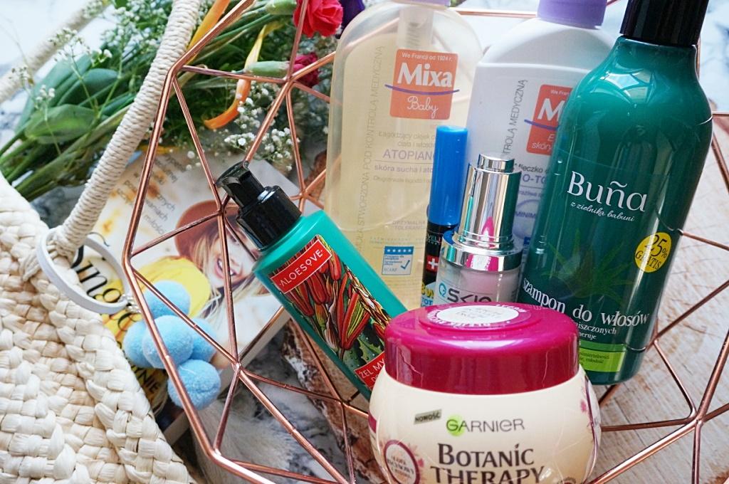 ulubione kosmetyki wakacji Aloesove, Garnier Botanic Therapy, Mixa, o2skin, Buna, Eveline Cosmetics