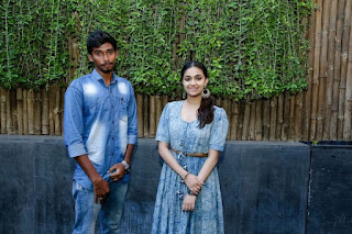 Keerthy Suresh in Blue Dress with Cute and Lovely Smile with a Fan 8