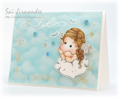 Magnolia Cloudy Love Tilda Shaker Card