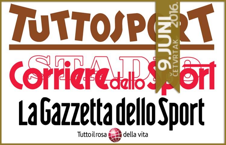 Italijanska štampa: 09. juni 2016. godine