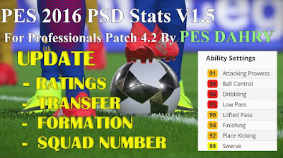 PES 2016 PSD Stats V1.5 For Professionals Patch 4.2