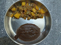 Black gram (Ulundhu) Kali, Pumpkin-Brinjal curry