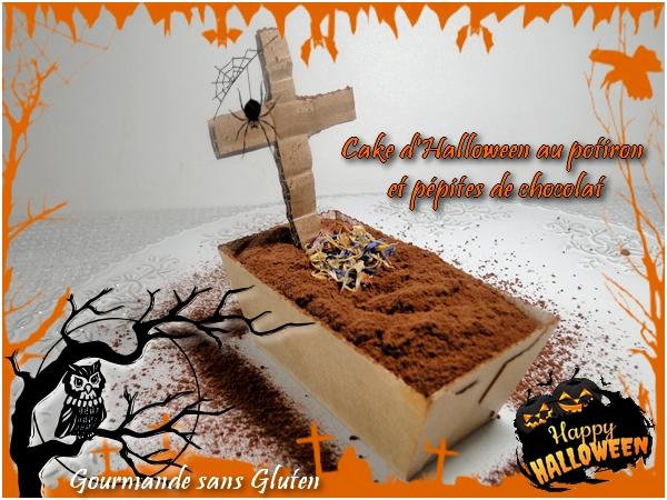 Cake d'Halloween au potiron et pépites de chocolat