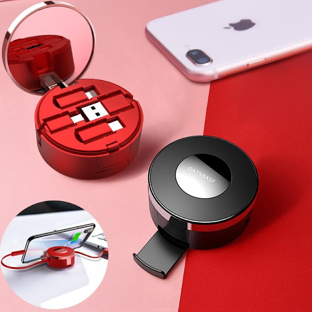 3-in-1 Retractable Micro, Type C, Apple USB Charging Kitwith Mirror & Stand