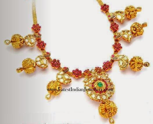 Ruby Polki Diamond Gold Necklace