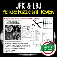 American History Picture Puzzles are great for TEST PREP, UNIT REVIEWS, TEST REVIEWS, and STUDY GUIDES, JFK and LBJ