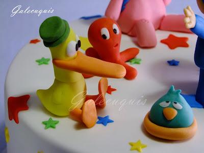 Pato, pulpo y pajaroto en fondant