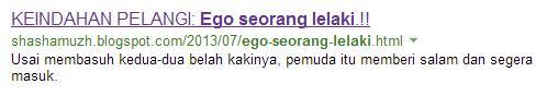 Tedi tak terkata: Ego seorang lelaki.