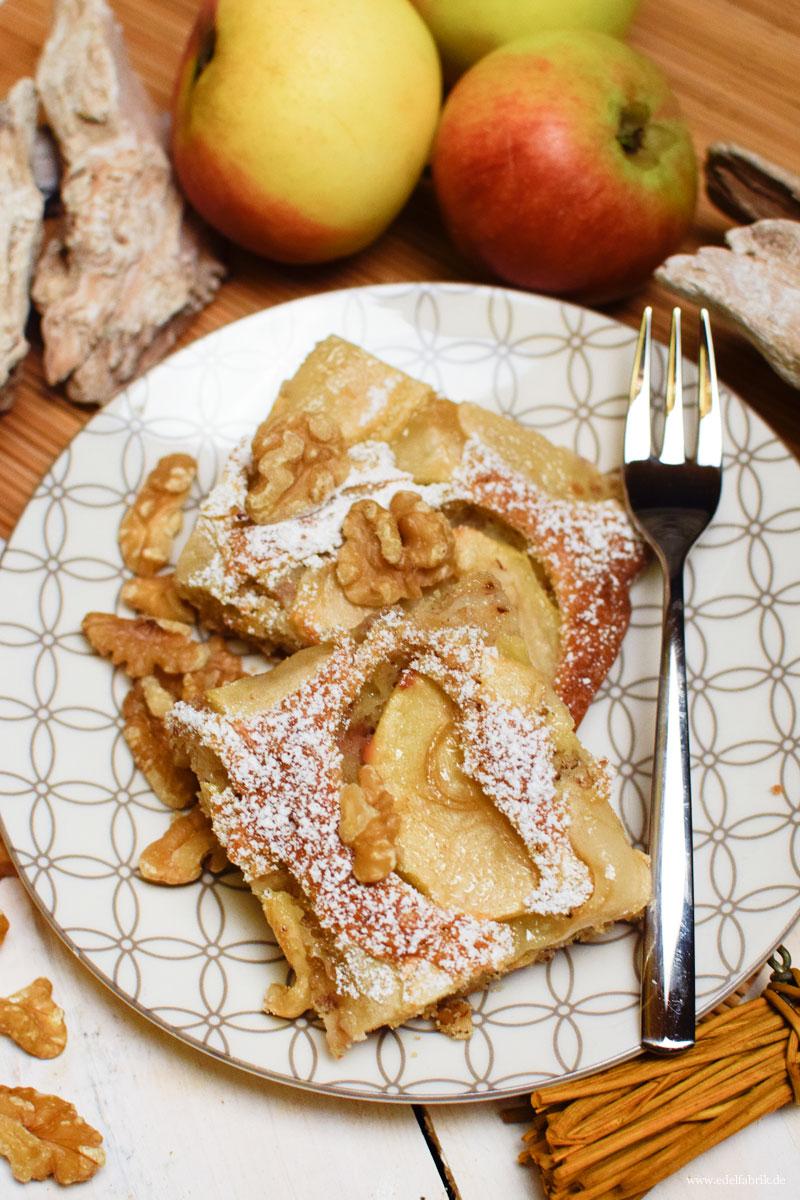 schneller Blechkuchen mit Äpfeln und Walnüssen