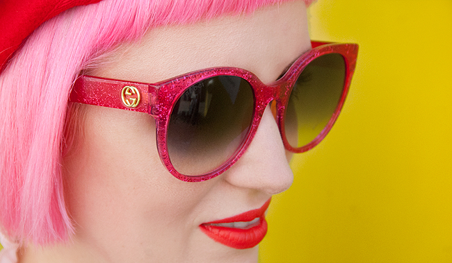 pink hair, Gucci, glitter sunglasses