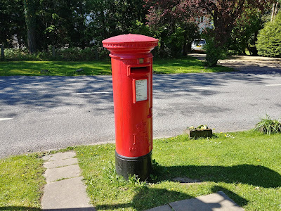 Photograph of Pillar box ER at the junction of Mymms Drive and the A1000 Great North Road, Brookmans Park Image from the North Mymms History Project released under Creative Commons