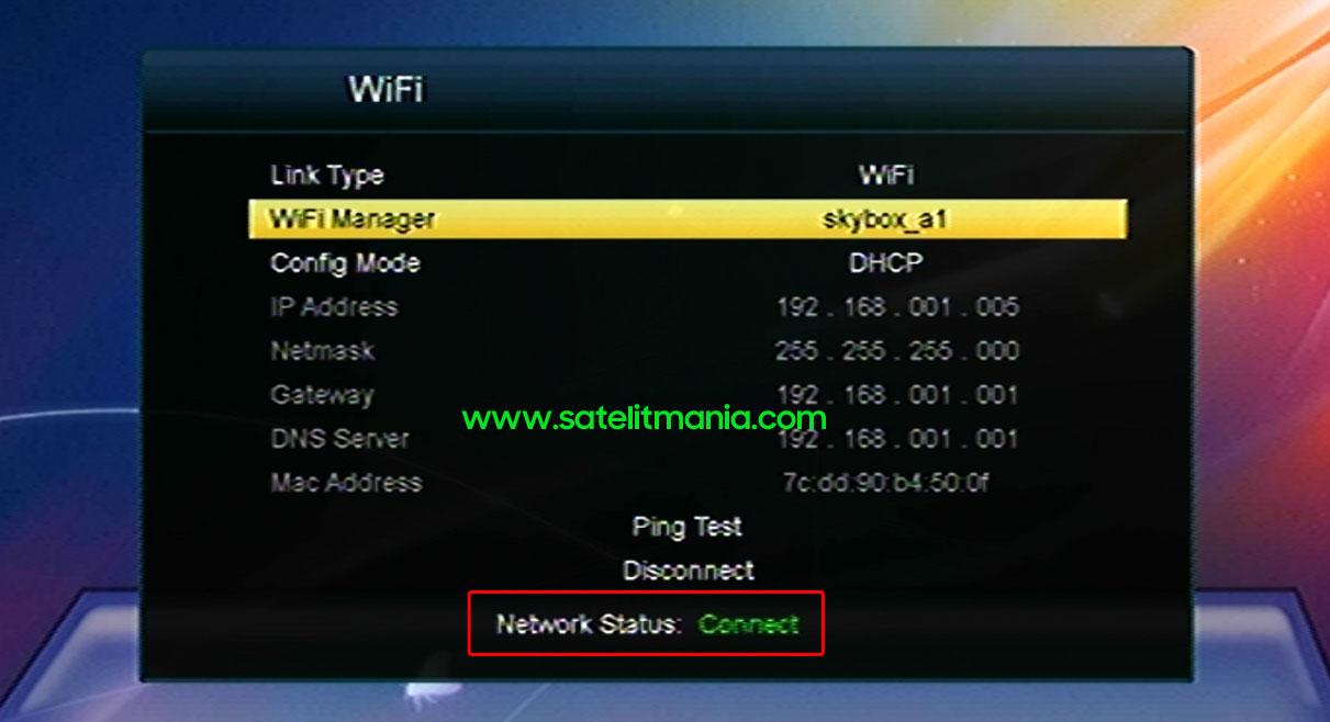 Status Koneksi Jaringan WiFi Internet di Skybox A1
