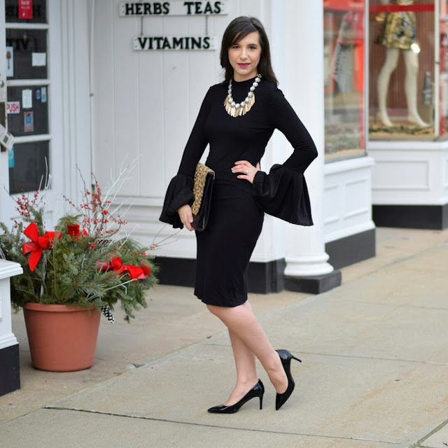 Bell Sleeve Black Top with Pencil Skirt and Leopard Clutch