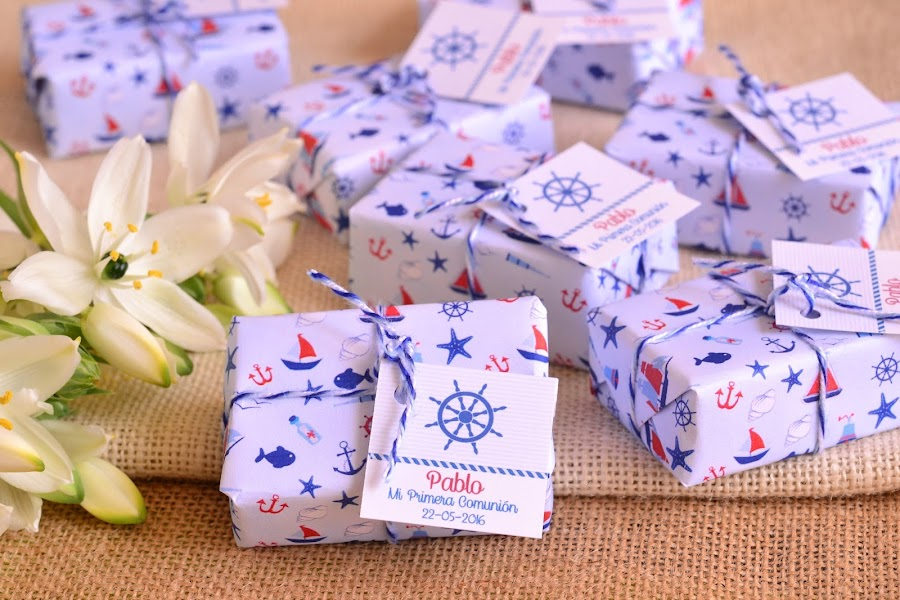 Jabones detalles personalizados de comunion marinera