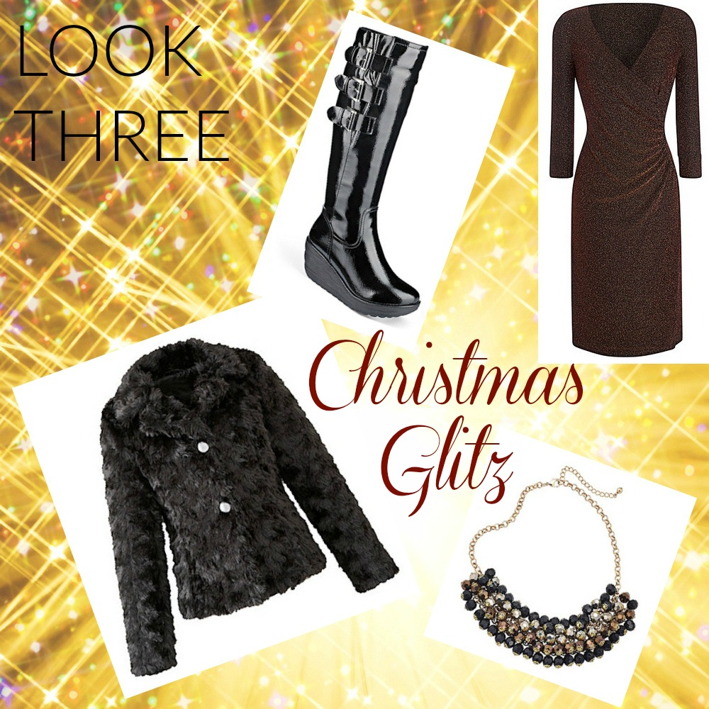 JD Williams Lorraine Kelly plus size glitter side ruched dress Christmas party Christmas meal Christmas day dress bronze glitter sparkles glamourous cosy outfit