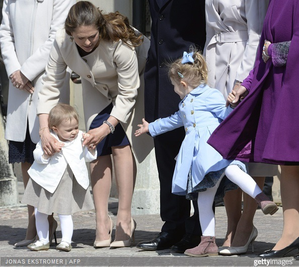 Princess Leonore of Sweden, Princess Madeleine and Princess Estelle are pictured during the celebration of the King Carl Gustaf´s 69th birthday at the court yard of the Royal Palace in Stockholm