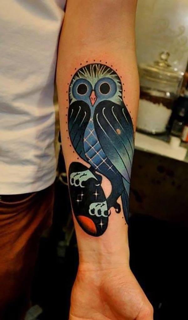 mavi baykuş dövmesi