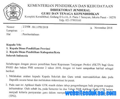 Surat Edaran Penerbitan SKTP Semester 2 Tahun Ajaran 2018/2019